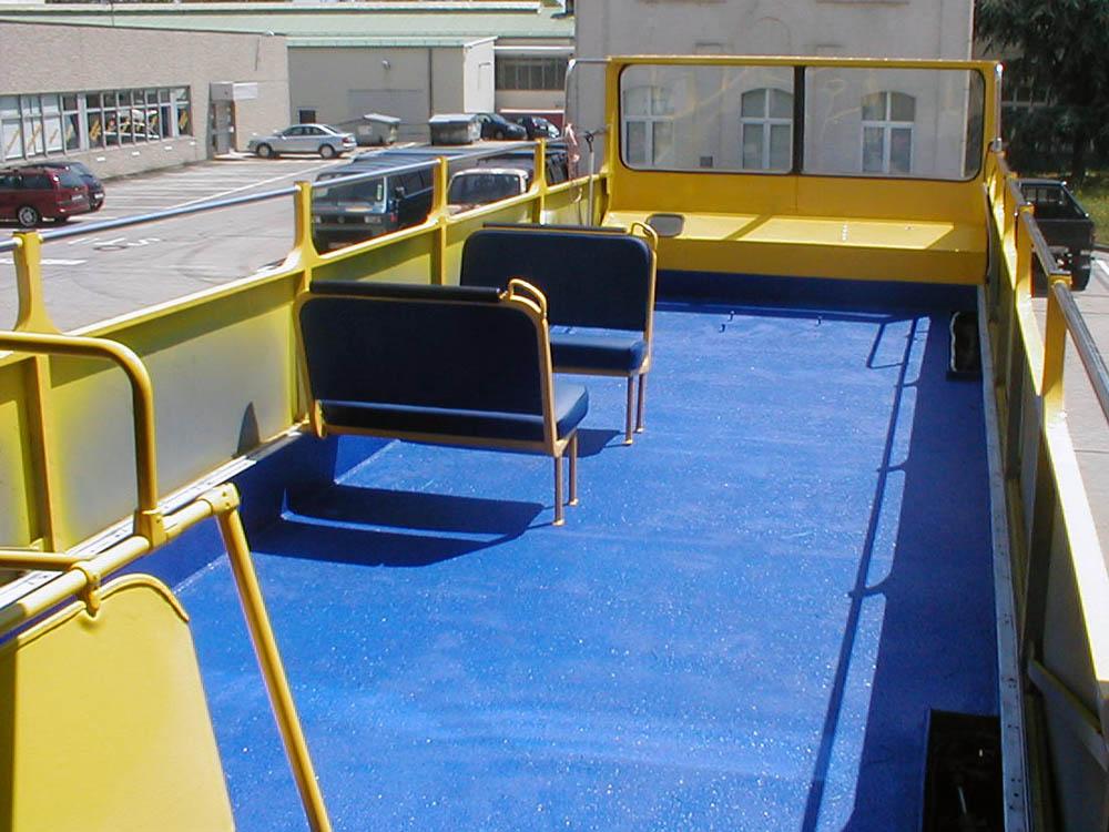 PU Beschichtung des Deck eines Doppeldecker Bus