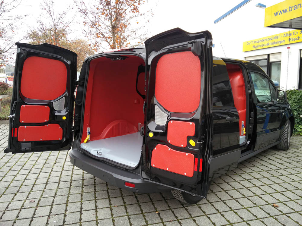 Ladeflächenbeschichtung in der Wunschfarbe, so erhält der Transporter einen roten Laderaum