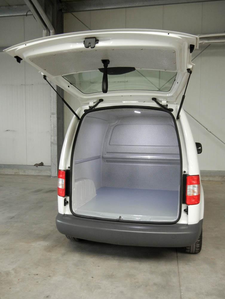 Metzgerei Transporter VW Caddy mit Lebensmittelausbau und Airline Leisten zur Ladungssicherung