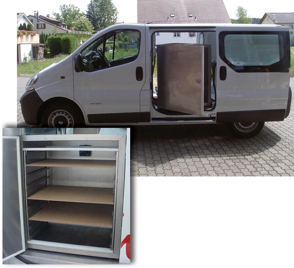 Mobiles Kühlgerät für Transporter mit Regal