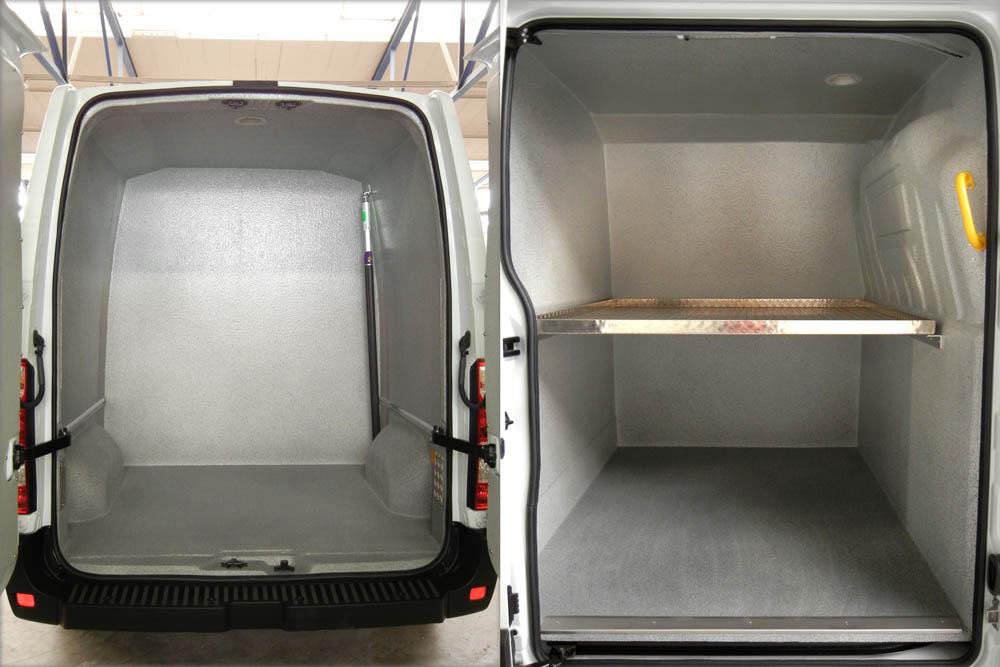 Fahrzeugausbau eines Wäschreifahrzeugs mit zwei separaten Abteilen